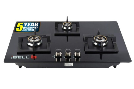 iBELL 490GH HOB 3 Burner Glass Top Gas Stove with Auto Ignition